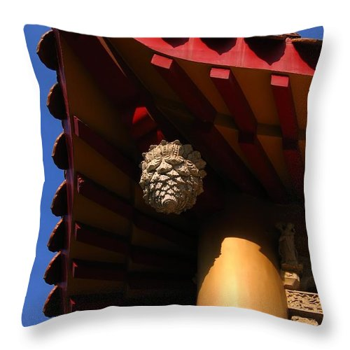 Chinese Throw Pillow featuring the photograph Chinese Temple Roof by Yali Shi