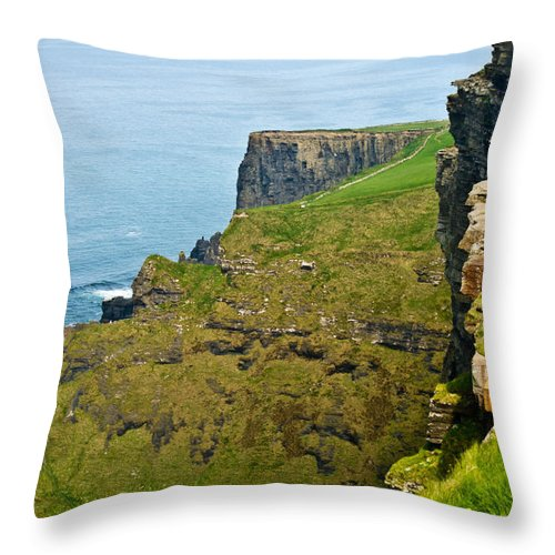 Cliffs Throw Pillow featuring the photograph Cliff Of Moher 16 by Douglas Barnett