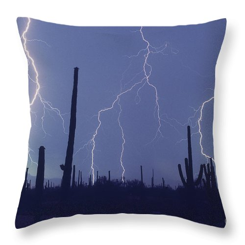 Saguaro Cactus Throw Pillow featuring the photograph Cloud To Ground Lightning by John A Ey III and Photo Researchers