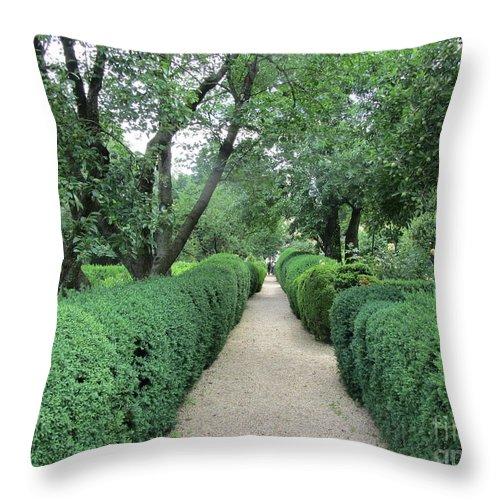 Garden Throw Pillow featuring the photograph Colonial Garden Path by Susan Carella