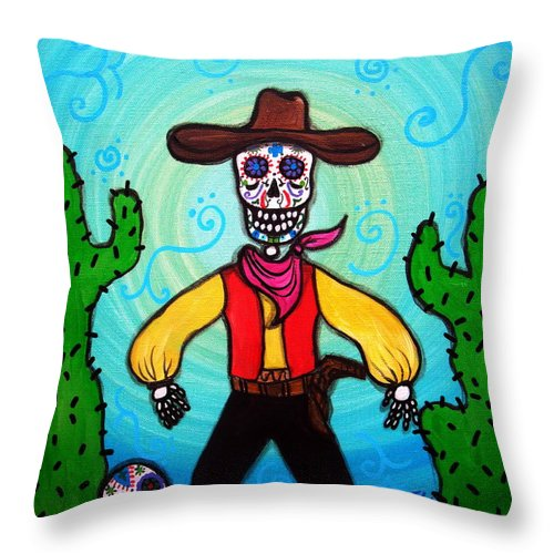 Day Of The Dead Cowboy Cactus Desert Skulls Skeleton Sugar Dia De Los Muertos Prisarts Painting Sale Flowers Blooms Throw Pillow featuring the painting Cowboy Dia De Los Muertos by Pristine Cartera Turkus