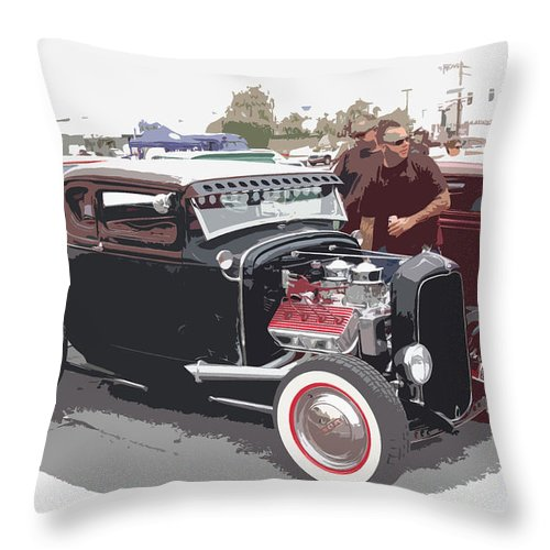Model A Throw Pillow featuring the photograph Custom Ford Coupe by Steve McKinzie