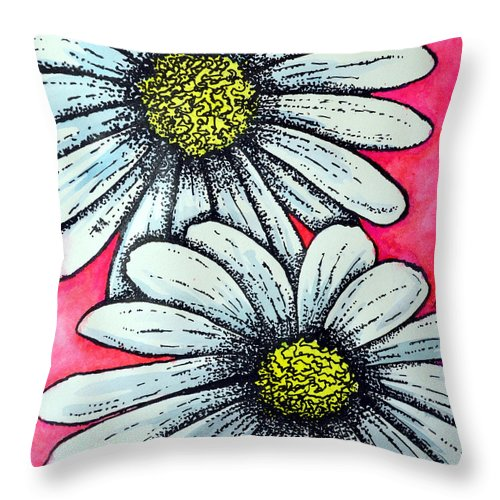 Throw Pillow featuring the mixed media Daisies by Dion Dior