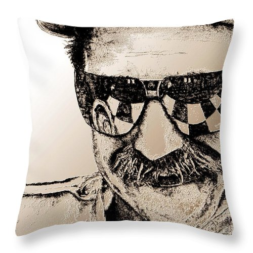Dale Earnhardt Sr Throw Pillow featuring the mixed media Dale Earnhardt Sr In 1995 by J McCombie