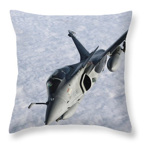 French Air Force Throw Pillow featuring the photograph Dassault Rafale B Of The French Air by Gert Kromhout