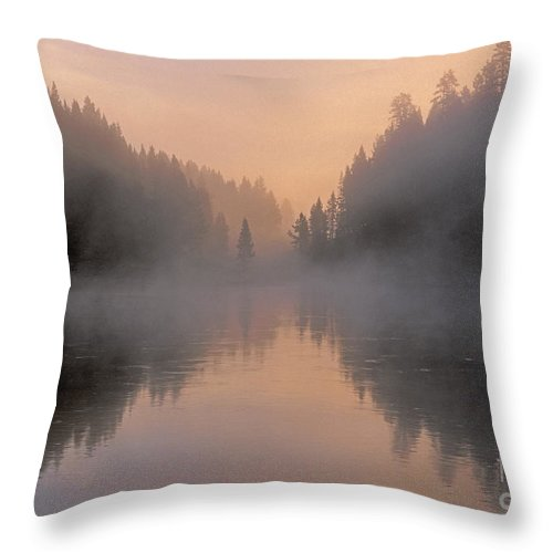Bronstein Throw Pillow featuring the photograph Dawn On The Yellowstone River by Sandra Bronstein