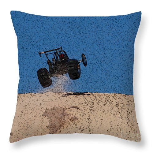Silver Lake Sand Dunes Throw Pillow featuring the photograph Dune Buggy Jump by Grace Grogan