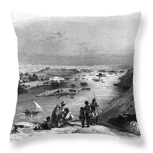 1849 Throw Pillow featuring the photograph Egypt: Nile Scene by Granger