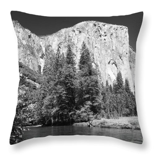 Black&white Throw Pillow featuring the photograph El Capitan And Merced River by Sandra Bronstein