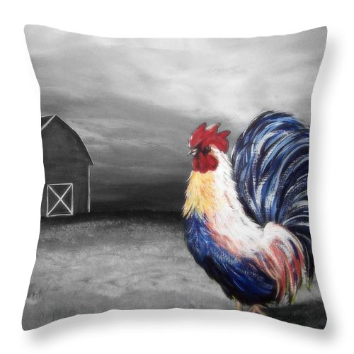 Rooster Throw Pillow featuring the painting Evening Strut by Katie Slaby
