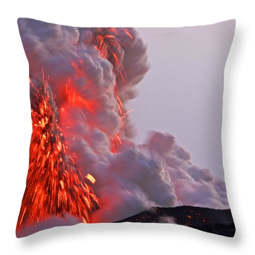 No People Throw Pillow featuring the photograph Explosion Of Lava, Ash, And Steam by Steve And Donna O'Meara