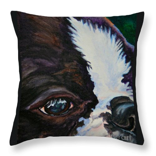 Animal Throw Pillow featuring the painting Eye On You by Susan Herber