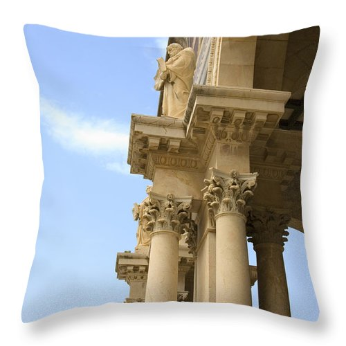 Psi Throw Pillow featuring the photograph facade of Church of all Nations Jerusalem by Ilan Rosen