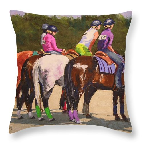 Horses Throw Pillow featuring the pastel Fair On Deck by Mary McInnis