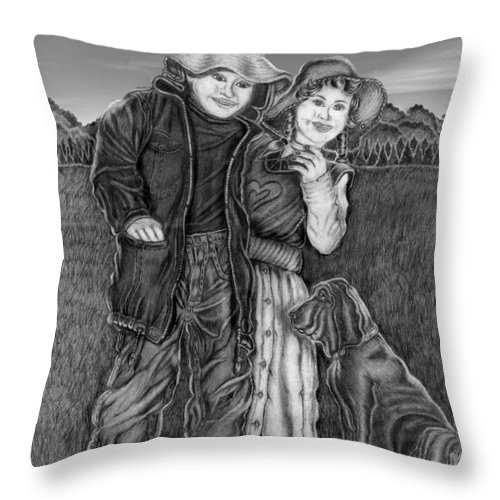 Boy And Girl Throw Pillow featuring the drawing Farm Children by Kathy-Lou