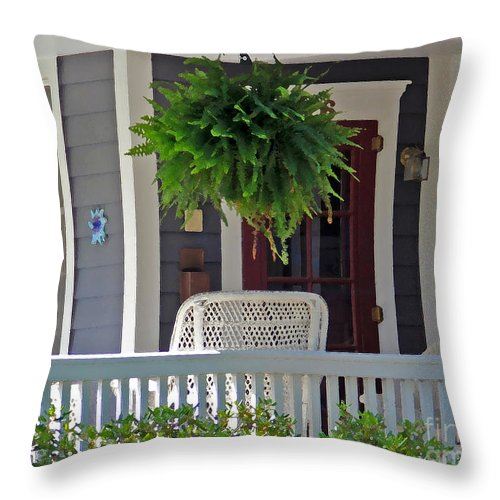 Fern Throw Pillow featuring the photograph Fern On Front Porch by Jack Schultz