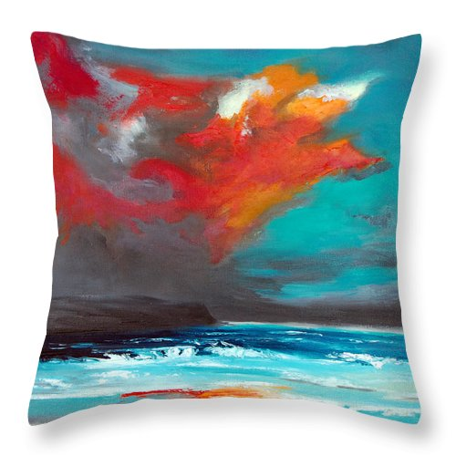 Seascape Throw Pillow featuring the painting Fire Sky by Jennifer Hickman