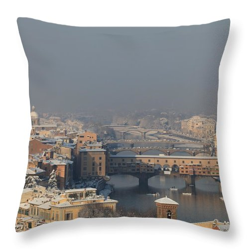 Snow Throw Pillow featuring the photograph Firenze Under The Snow by Francesco Scali