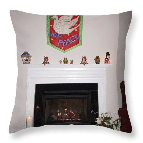Fireplace Throw Pillow featuring the photograph Fireplace At Christmas by Sally Weigand