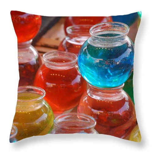 Abstract Throw Pillow featuring the photograph Fish Bowls by Michael L Gentile