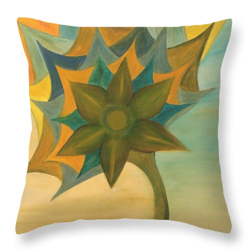 Abstract Throw Pillow featuring the painting Flower by Yaron Ari