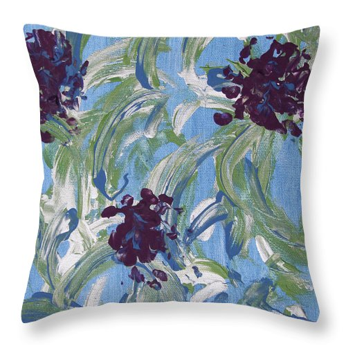 Abstract Throw Pillow featuring the painting Flowers For Celeste by Laura Lane