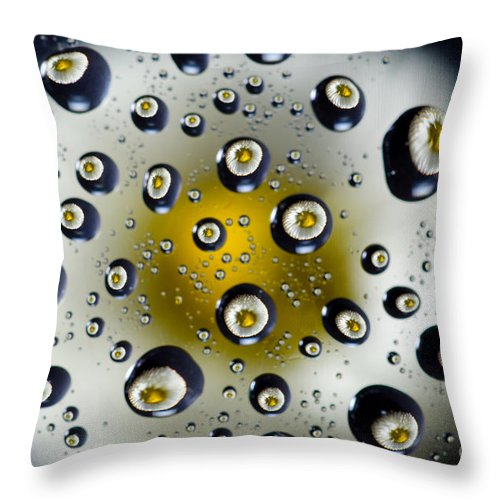 Flower Throw Pillow featuring the photograph Flowers In Water Drops by Mats Silvan