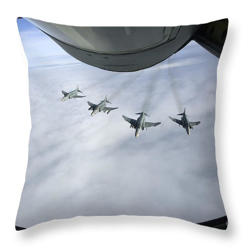 Germany Throw Pillow featuring the photograph Formation Of Luftwaffe F-4f Phantom IIs by Gert Kromhout