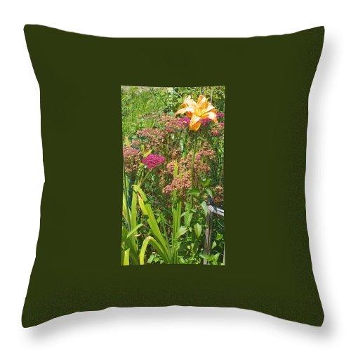 Garden Flowers Throw Pillow featuring the photograph Garden Flowers by Thelma Harcum