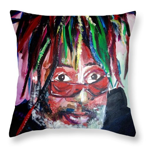 Throw Pillow featuring the painting George Clinton by Kate Fortin