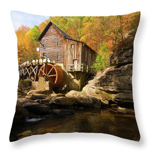 West Virginia Throw Pillow featuring the photograph Glade Creek Grist Mill by Steve Stuller