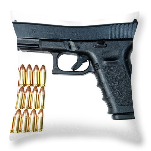 Cutout Throw Pillow featuring the photograph Glock Model 19 Handgun With 9mm by Terry Moore