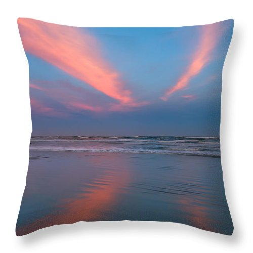 Background Throw Pillow featuring the photograph Golden Morning At A Beach by U Schade
