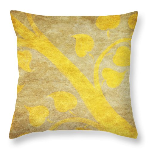 Abstract Throw Pillow featuring the painting Golden Tree Pattern On Paper by Setsiri Silapasuwanchai