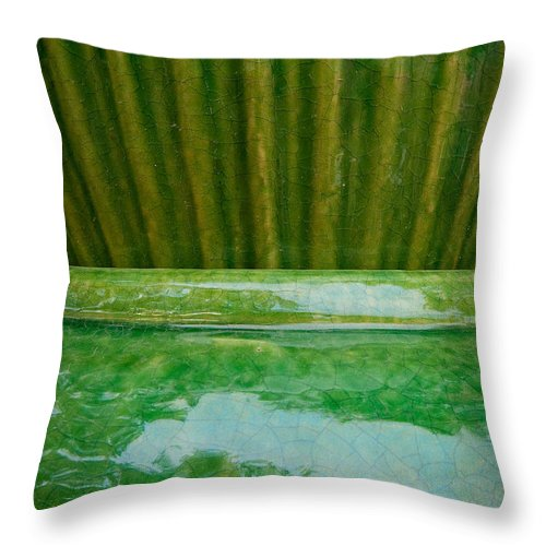 Abstract Throw Pillow featuring the photograph Green Pottery by Sean Wray