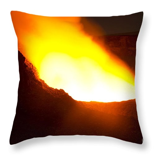 Crater Throw Pillow featuring the photograph Halemaumau Crater Of Kilauea Volcano by Fahad Sulehria