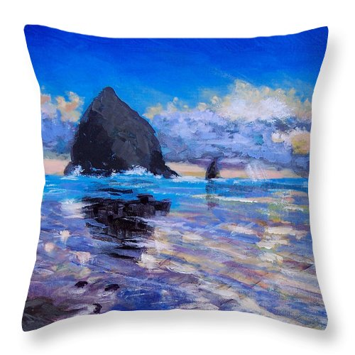Oregon Throw Pillow featuring the painting Haystack 2012 by Robert Gross