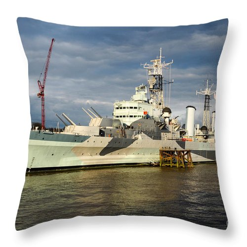 British Throw Pillow featuring the photograph Hms Belfast by Andrew Michael