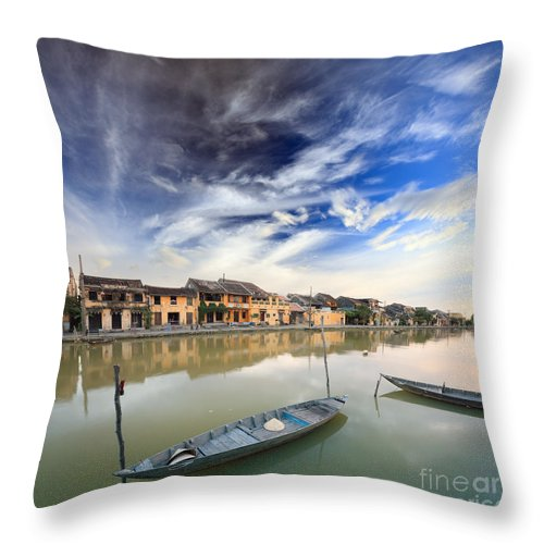 Boat Throw Pillow featuring the photograph Hoi An. Vietnam by MotHaiBaPhoto Prints