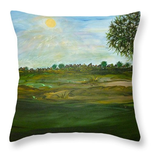Whimsical Scene Throw Pillow featuring the painting I Heart Pi by Sara Credito
