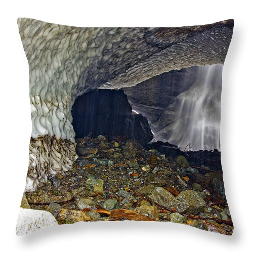 Abstract Throw Pillow featuring the photograph Ice Caves by Paul Fell