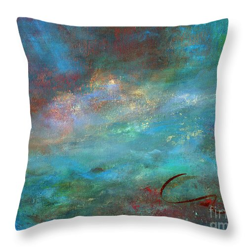 Abstract Throw Pillow featuring the painting Inspiration by Sharon Abbott-Furze