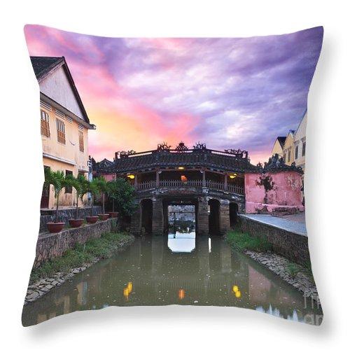 Bridge Throw Pillow featuring the photograph Japanese Bridge by MotHaiBaPhoto Prints