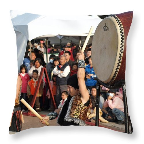 Drum Throw Pillow featuring the photograph Japanese Drummers Perform In Kaohsiung Taiwan by Yali Shi