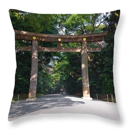 Architecture Throw Pillow featuring the photograph Japanese Entrance Gate On A Sunny Day by U Schade