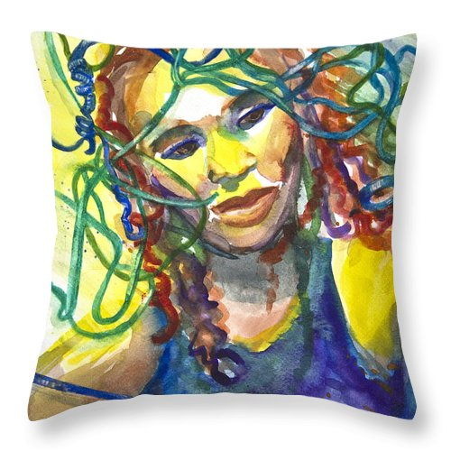 Jazz Singer Throw Pillow featuring the painting Jazz Singer by Patricia Allingham Carlson
