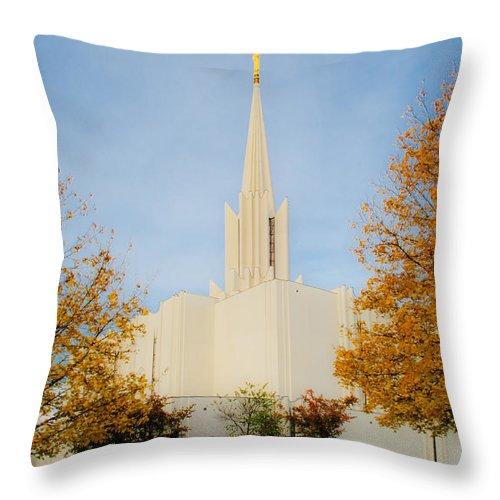 Jordan River Temple Throw Pillow featuring the photograph Jordan River Temple by La Rae Roberts