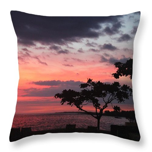 Sunset Throw Pillow featuring the photograph Kona Sunset by Caroline Lomeli