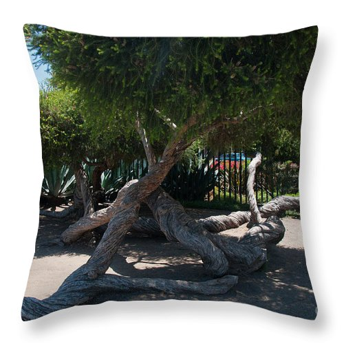 California Throw Pillow featuring the digital art La Brea Tar Pits by Carol Ailles