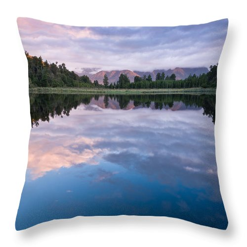 Background Throw Pillow featuring the photograph Lake Matheson by U Schade